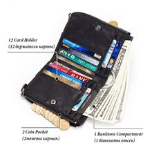 Engraving Cowhide Genuine Leather Wallet Men Coin Purse Small Mini Card Holder Vintage  Chain