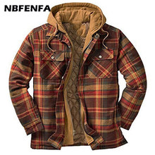 Winter Men Jackets Vintage Plaid Coat Male Warm Parkas Hooded Thick Outwear Overall Men Clothing Casual Loose Sport Jacket LA325