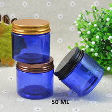 50g Cosmetic Cream Jar Alumina Lid PET Blue Bottle Mask can Cosmeceuticals Bottle Cosmetic Container Empty Food Packing Cans