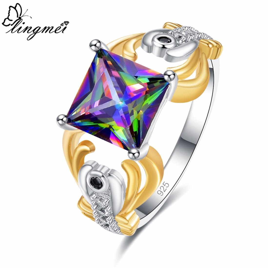 Lingmei Drop shipping Womens Fashion Wedding Band Princess Cut Multicolor & Red Zircon Silver Two Tone Ring Size 6 7 8 9