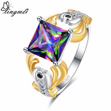 Lingmei Drop shipping Women's Fashion Wedding Band Princess Cut Multicolor & Red Zircon Silver Two Tone Ring Size 6 7 8 9(China)