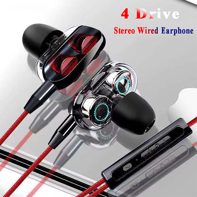 Dual Drive Stereo Wired in Ear Sports Dual Speakers with Microphone Smart Headset Subwoofer Game Headset Universal Phone 10 98