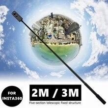 חדש 2M/3M נייד Invisible Selfie מקל ידית כדור זמן סיבוב חדרגל עבור Insta360 אחד R X goPro גיבור 9 8 7 6 אבזר
