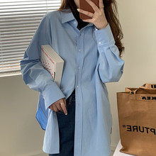 100% Cotton BF Solid Shirt Coat Women 2021 Spring Korean Loose Long Sleeve Shirt Tops Female Lazy style Fashion Blouse Outerwear