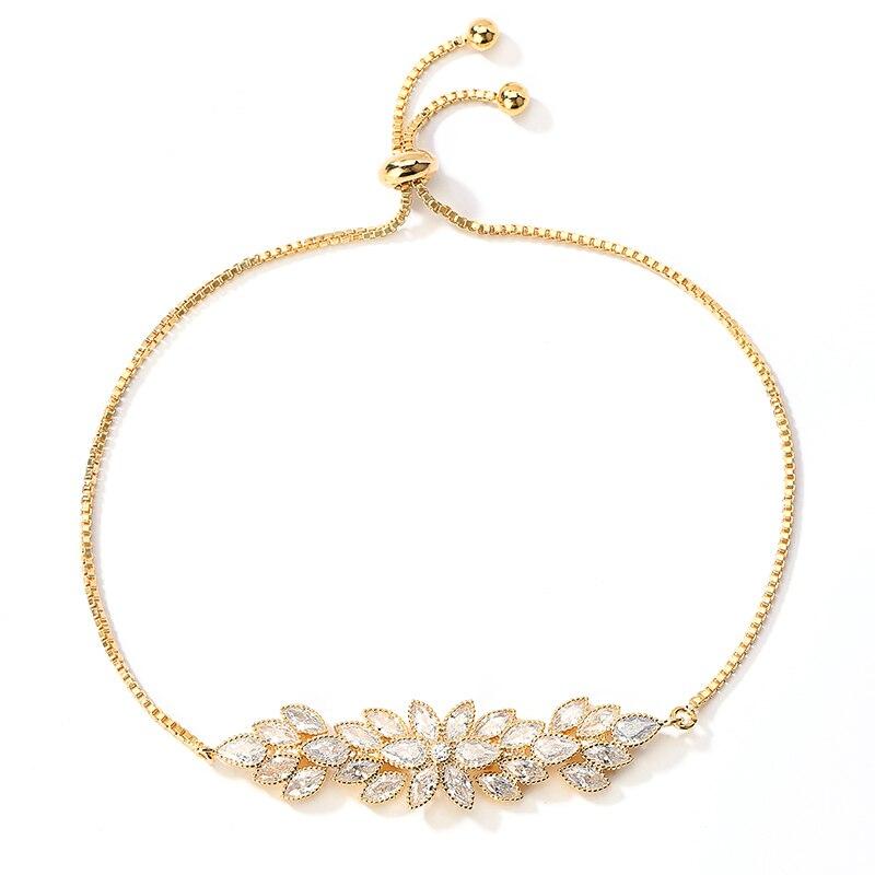 Bracelet NANKIYA Elegant Creative Flower And Leaves Design High Quality Zircon Women Wedding Party Hand Jewelry SL1168 Pulsera