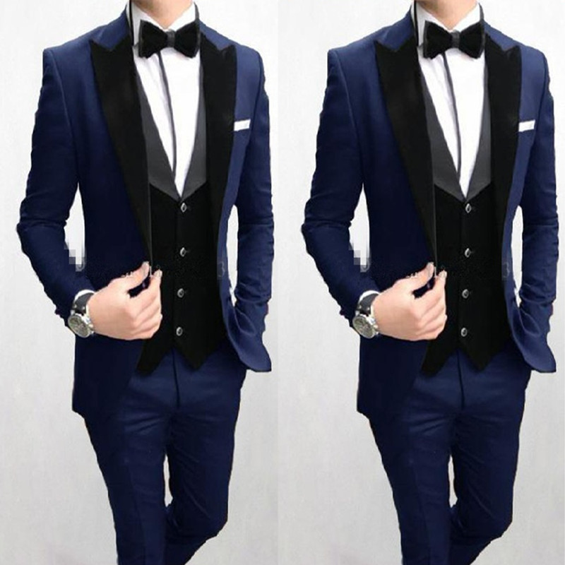39One Button Navy Blue Wedding Men Suits Peak Lapel Three Pieces Business Groom Tuxedos (Jacket+Pants+Vest