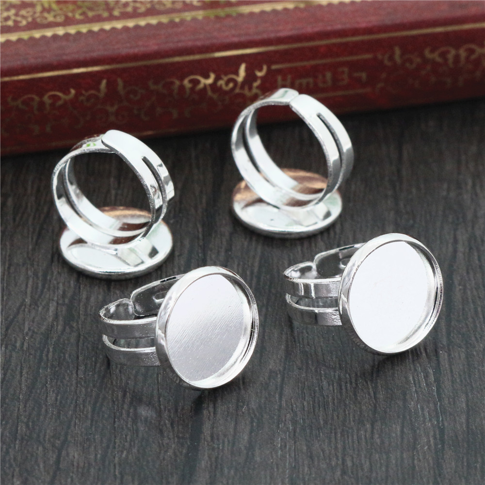 12mm 10pcs Children Silver Plated Brass Adjustable Ring Settings Blank/Base,Fit 12mm Glass Cabochons,Buttons;Ring Bezels-J2-01