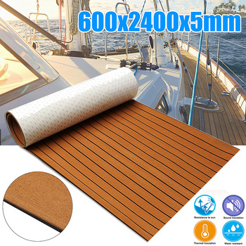 Samoprzylepne 600x2400x5mm pianka Teak Decking pianka EVA Marine Flooring Faux Boat blacha pokładowa akcesoria Marine Brown Black tanie i dobre opinie Audew