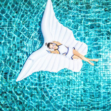 Inflatable Angel Wings Giant Swimming Float Mat Water Party Toy Swimming Ring for Kids Adults Life Buoy Air Mattress 250cm Toys 240cm giant angel wings inflatable pool float ball golden white air mattress lazy water party butterfly swimming ring