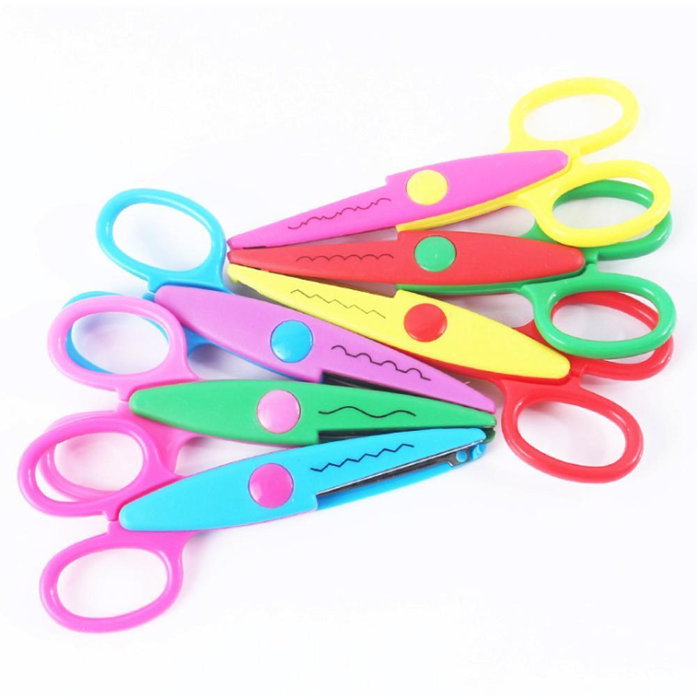 4pcs/6pcs Children DIY Handmade Lace Tool Set Photo Pattern School Cutting Scissors Stationery Office Tools Cartoon Lace A9T2