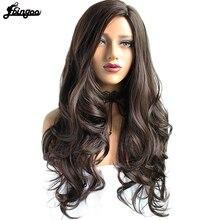 Ebingoo Seite Teil Hohe Temperatur Faser Lange Körper Welle Haar Perücken #2 Dark Brown Synthetische Perücke für Frauen