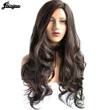 Ebingoo Side Part High Temperature Fiber Long Body Wave Hair Wigs #2 Dark Brown Synthetic Wig for Women