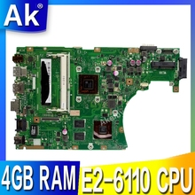 X455we placa-mãe do portátil para asus x455w x455we x454w x454we mainboard 100% teste 4 gb ram E2-6110 cpu