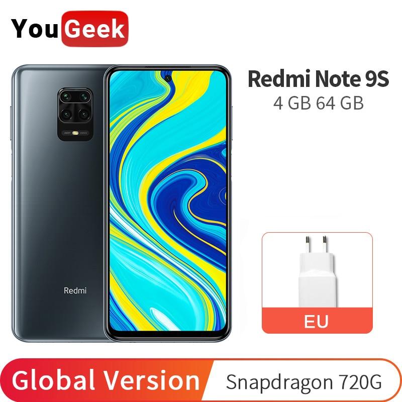 Глобальная версия Xiaomi Redmi Note 9S 4 Гб RAM 64 ГБ ROM мобильный телефон Snapdragon 720G 5020 мАч 48MP Quad Camera 6,67