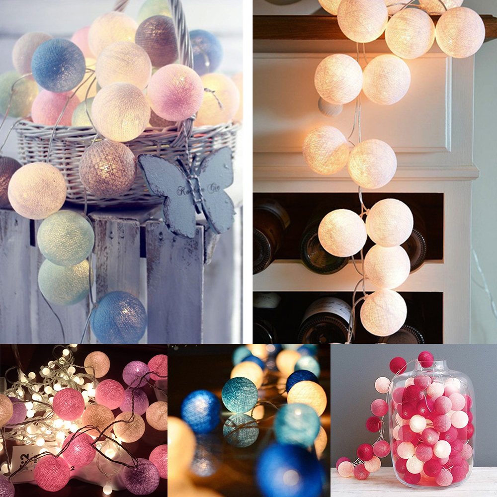 1.5M 3M LED Cotton Ball Light String Fairy Light 10LED 20LED Indoor Outdoor Garland Light Holiday Wedding Christmas Party Decor
