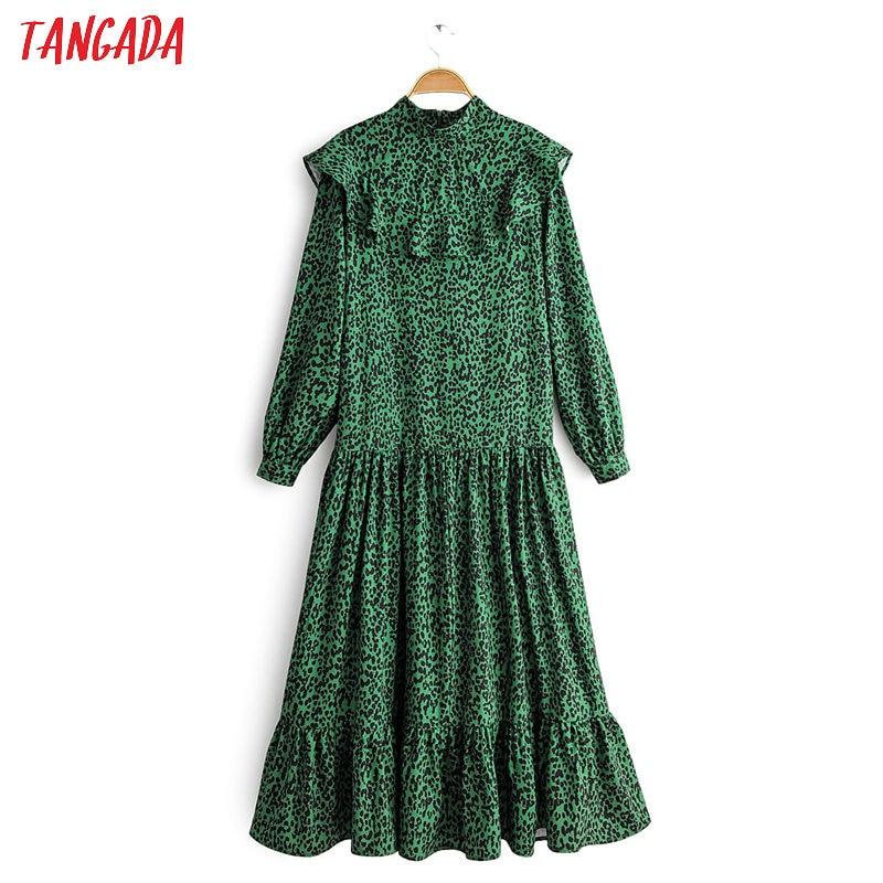 Tangada Women Leopard Print Green Long Dress Ruffles Back Zipper 2020 Spring Fashion Ladies Elegant Dress Vestidos 1F45
