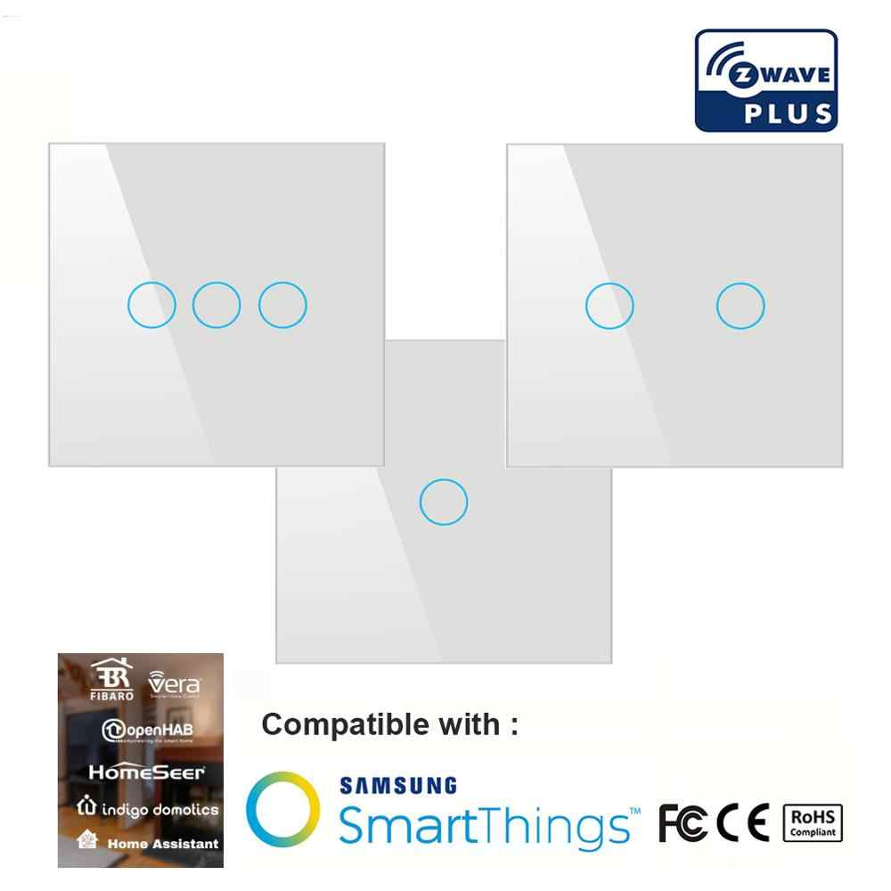 Z wave plus touch switch 3 way EU home automation Smart Remote Control Wall Light Switch Compatible Z wave Fibaro Smartthings