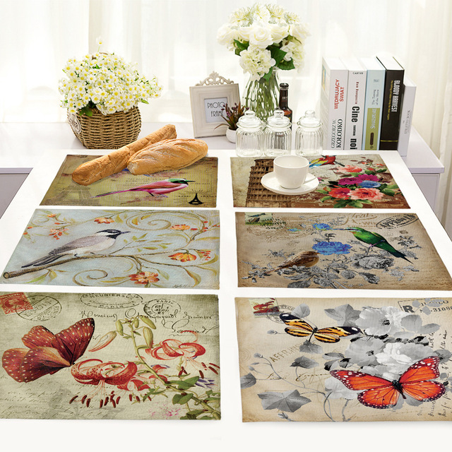 Best Price 43d4 Cartoon Butterfly Birds Print Linen Fabric Placemat For Dining Table Manteles Flower Design Kitchen Decoration Accessories Cicig Co