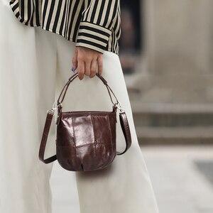 Image 1 - Ayakkabıcı Legend Vintage kova çanta kadın omuzdan askili çanta hakiki deri kadın tote alışveriş çantası marka tasarımcısı çanta kadın