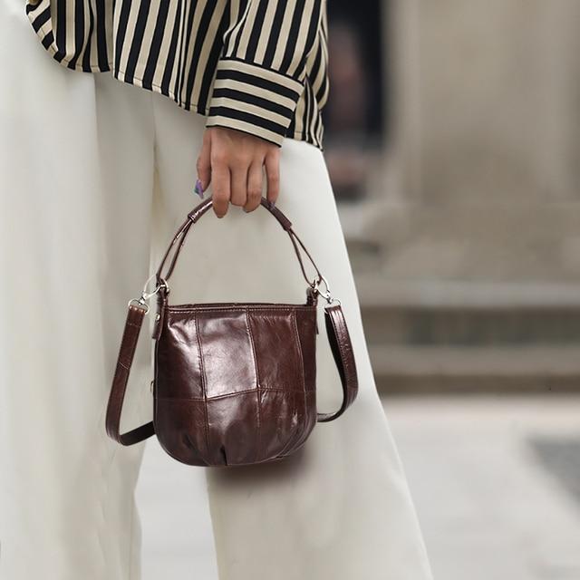 Ayakkabıcı Legend Vintage kova çanta kadın omuzdan askili çanta hakiki deri kadın tote alışveriş çantası marka tasarımcısı çanta kadın