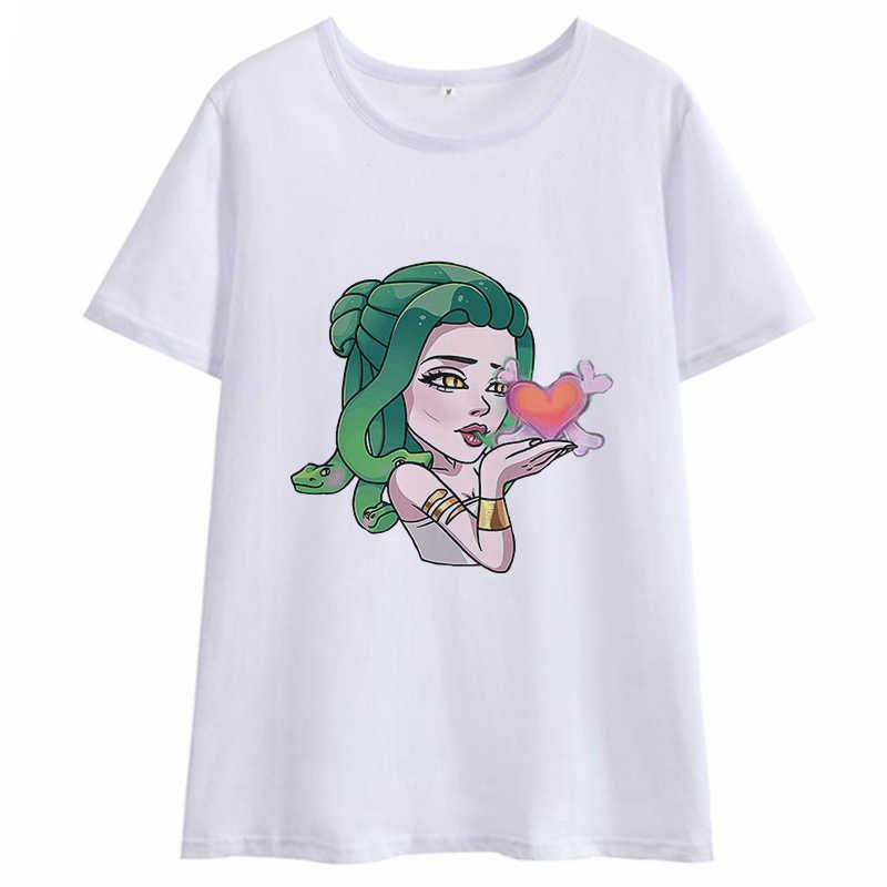 Verão 2020 nova estética tshirt bonito feminino medusa harajuku kawaii roupas de grandes dimensões camiseta gótico t camisa casual das mulheres