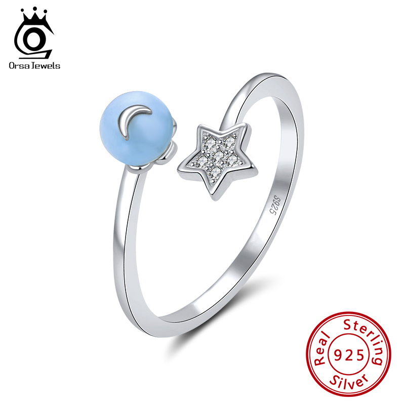 ORSA JEWELS Pure 925 Silver Adjustable Rings For Women Aquamarine And AAAA Cubic Zircon Star & Moon Finger Rings Jewelry SR141