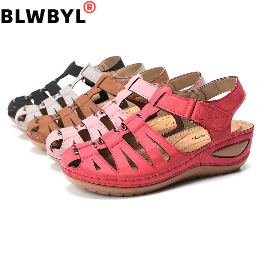 2020 Nieuwe Zomer Holle Splicing Gesp Haak Lus Gladiator Wedge Sandalen Rome Enkelband Zapatos De Mujer Sandalen