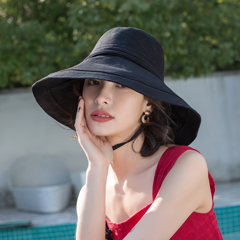Black Fisherman Hat For Women Sun Hats Summer Big Brim Bucket Hats Japanese Korean Panama Foldable Beach Suncreen Hat Caps