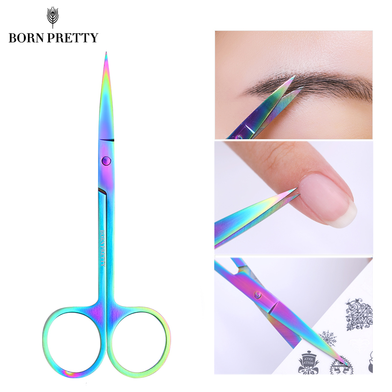 BORN PRETTY Nail Scissor Nails Cuticle Remover Tools Stainless Steel High Precision Staight Head Eyebrow Trimmer Scissors 1 Pc