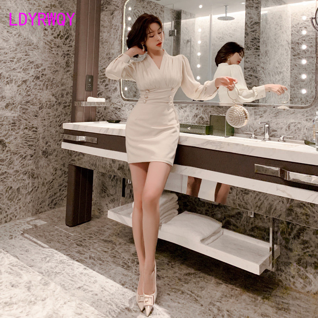 2020 early autumn new French temperament double-breasted bag hip slim dress Office Lady  Zippers  Knee-Length 4