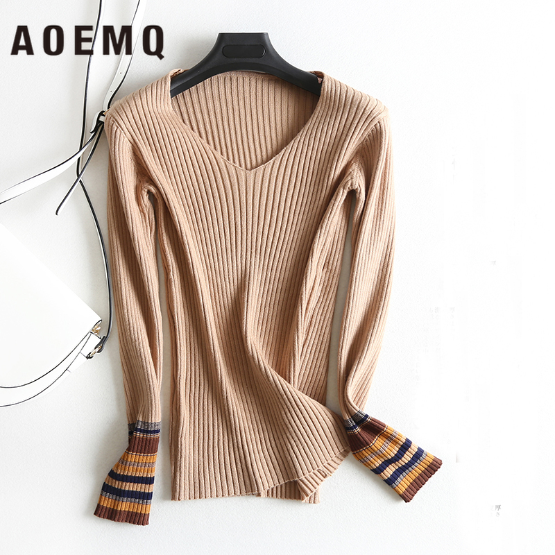 AOEMQ New Fashion Sweater One Size 5 Colors Striped Fit Sex V-Neck Women Tops Thin-sweater Winter Clothes For Women Clothing
