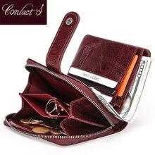Billetera de cuero genuino para mujer, cartera pequeña de mano para mujer, monedero de marca de lujo Rfid, con cremallera mágica
