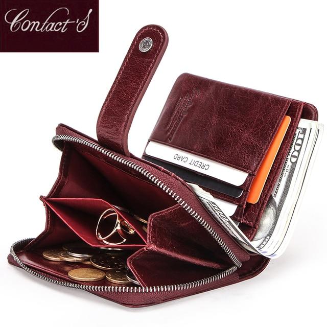 Carteira feminina de couro genuíno embreagem feminina pequenas senhoras carteiras portomonee rfid marca luxo dinheiro saco mágico zíper moeda bolsa