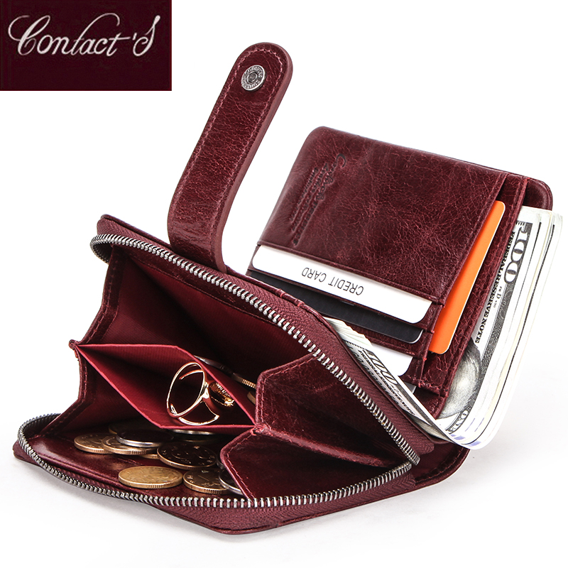 Genuine Leather Women Wallet Female Clutch Small Ladies Wallets Portomonee Rfid Luxury Brand Money Bag Magic Zipper Coin Purse