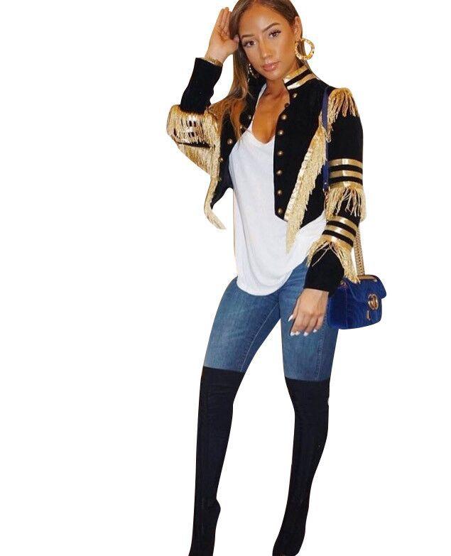Image 4 - Echoine femmes sexy veste mode décontracté bande dor gland  manteau femme à manches longues militaire doré rayures grande taille  vêtements 3XLVestes de base