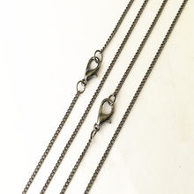 1mmx2mm Gunmetal Color Link Necklace With Lobster Clasp Pendant Chain Accessories Pocket Watch Chain Connector 8Pcs/Lot(China)