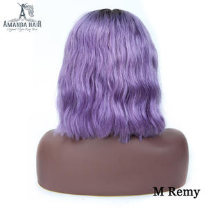 Amanda T1bpurple Bob Wig Malaysian Body Wave Lace Front Wig Human Remy Hair Wig 13x6 Middle Part 150% Density Pre Plucked