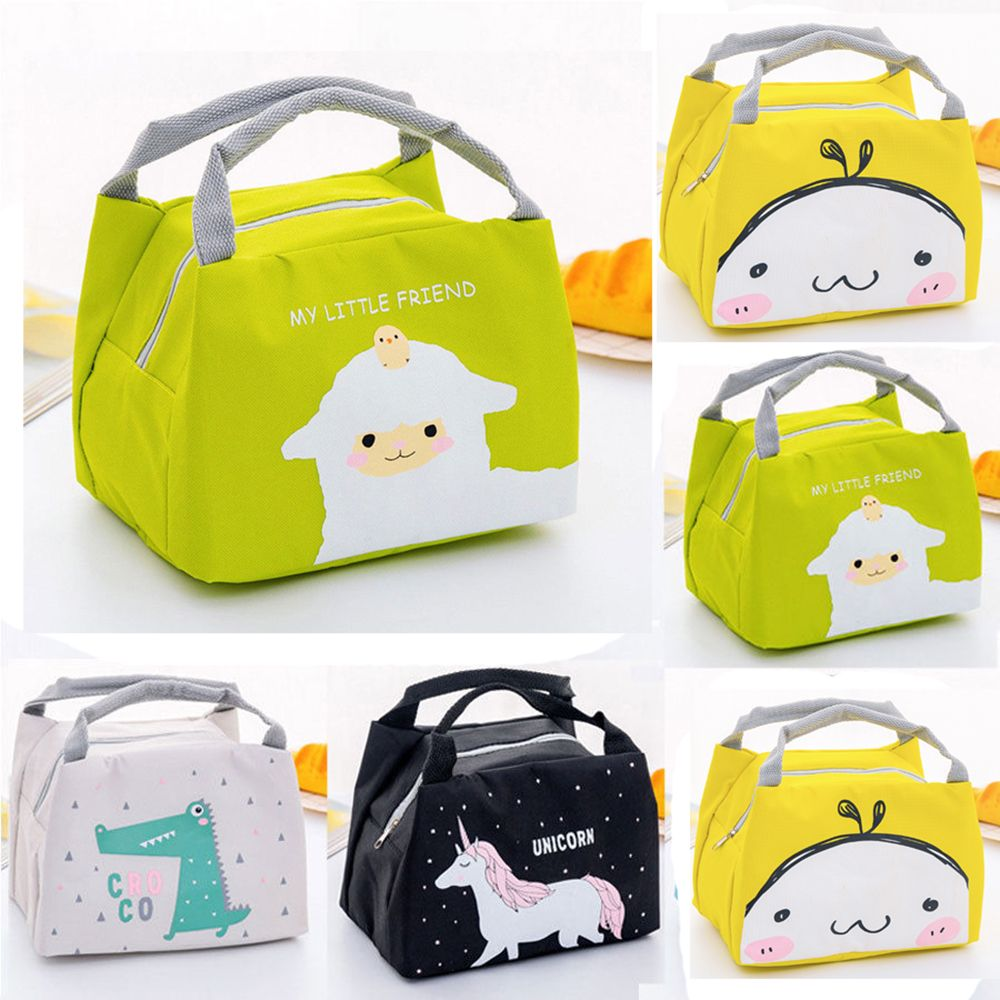 Cartoon Animal Unicorn Lunch Bag Portable Waterproof Insulated Big Cold Canvas Picnic Totes Case Kids Girl  Women Thermal Box