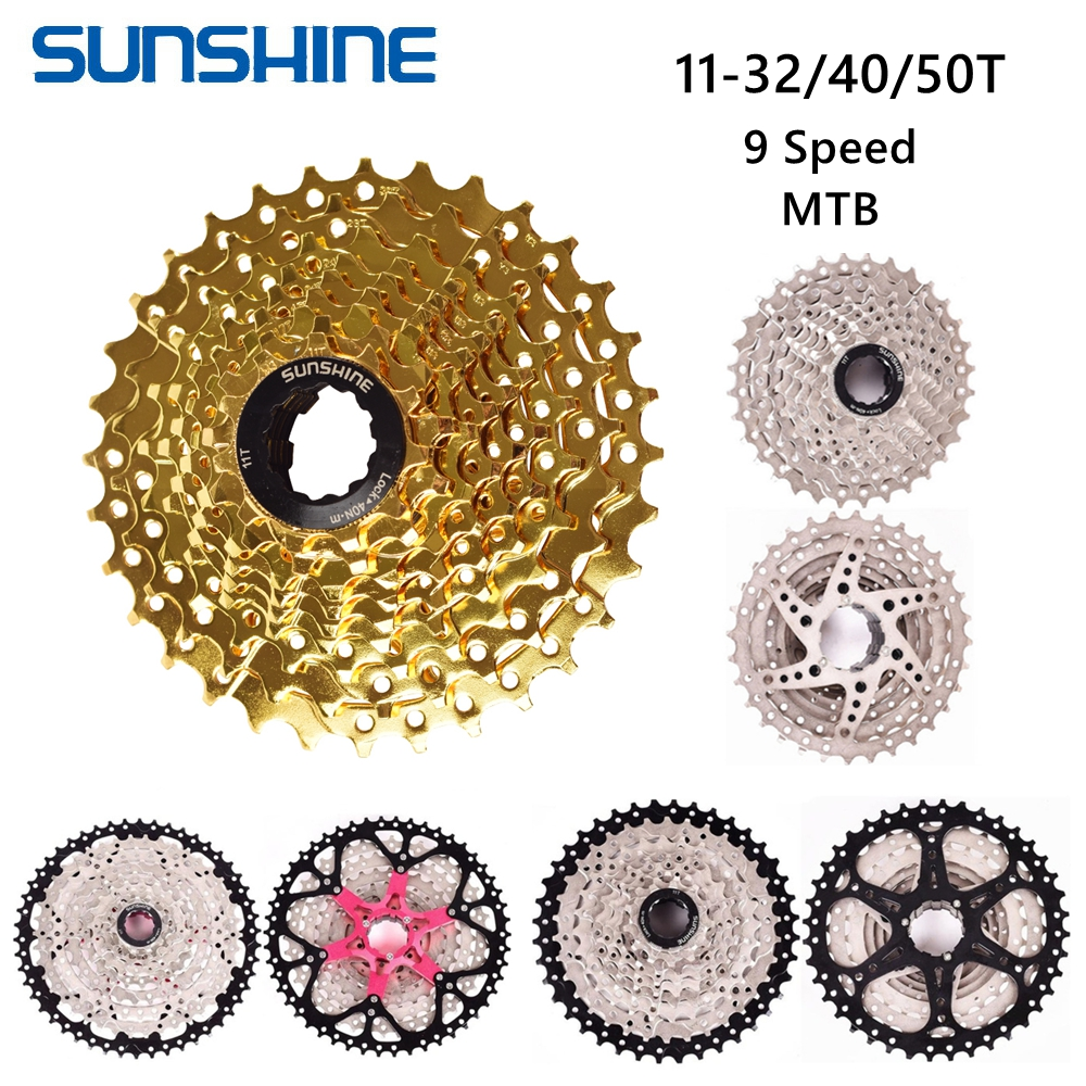SUNSHINE 9 Speed Bicycle Cassette 11-32/40/50T MTB Mountain Bike 9S Hollow Freewheel Flywheel Sprocket for Shimano SRAM