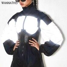 WannaThis Turtleneck Splice Outwear Reflective Flash Coat Zipper Women Autumn Winter Fashion Streetwear Club Loose Jacket Gray