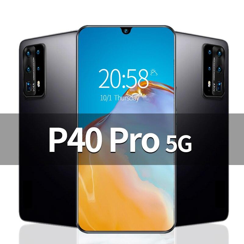 P40 Pro 6,8 дюймов разблокирован смартфон 4G 5G 16MP + 32MP 12 Гб + 512 Гб 5800 мач мобильных телефонов Celulares мобильного телефона