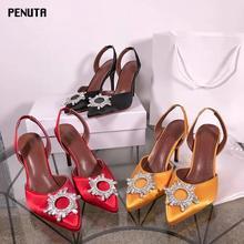 цена на 2020 PENUTA Crystal Embellished Slingback Sandals Pointed Toe High Heel Wedding Shoes Plus Size Women Rhinestone Party Heels S01