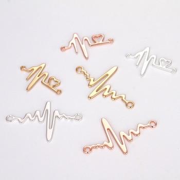 Juego de 5 piezas de accesorios de conexión hazlo-tú-mismo, Conector de pulsera flash de cobre, colgante de patrón eléctrico, kit de resultados de joyería chapados en oro