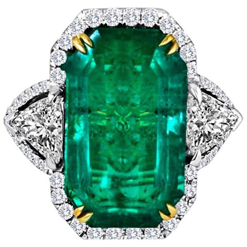 Большое женское кольцо с квадратным зеленым цирконом, обручальное кольцо, женское винтажное ювелирное изделие, серебристое кольцо на палец...
