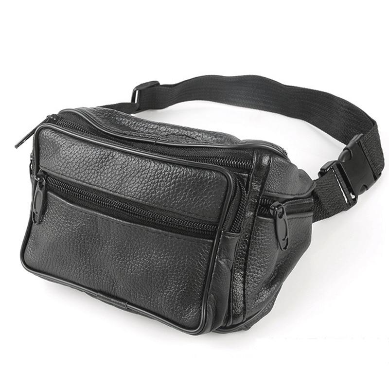 Men Vintage Leather Waist Fanny Pack Travel Outdoor Belt Bum Hip Pouch Chest Bag Male Solid Waist Packs