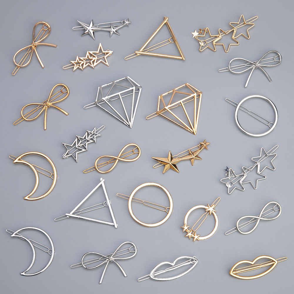 2Pcs Fashion Hollow Geometric Hair Clip for Women Elegant Triangular Moon Star Circle Metal Barrette Hairpin Head Accessorie
