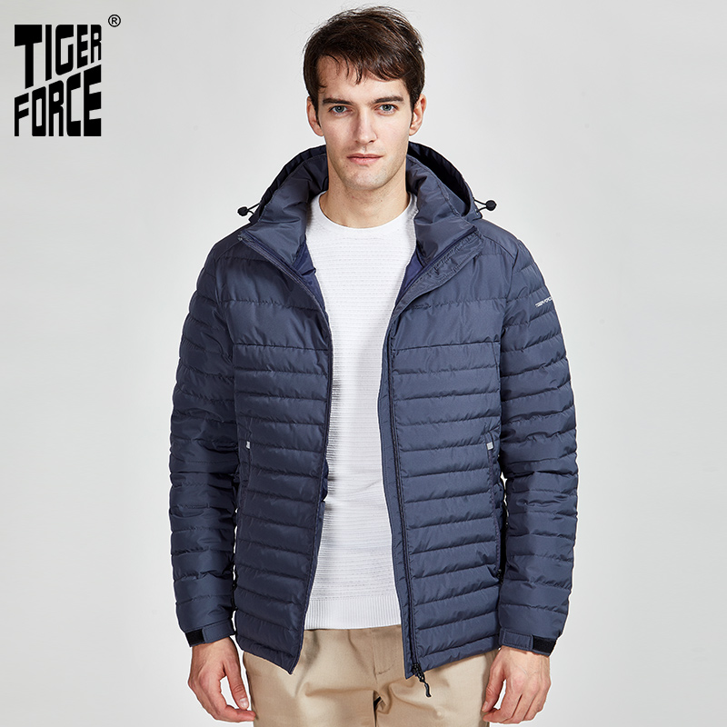 Tiger Force 2020 New  Men Striped Jackets  Pockets High Quality Removing Hood Warm  Male Casual Coat Outerwear Zipper 50629
