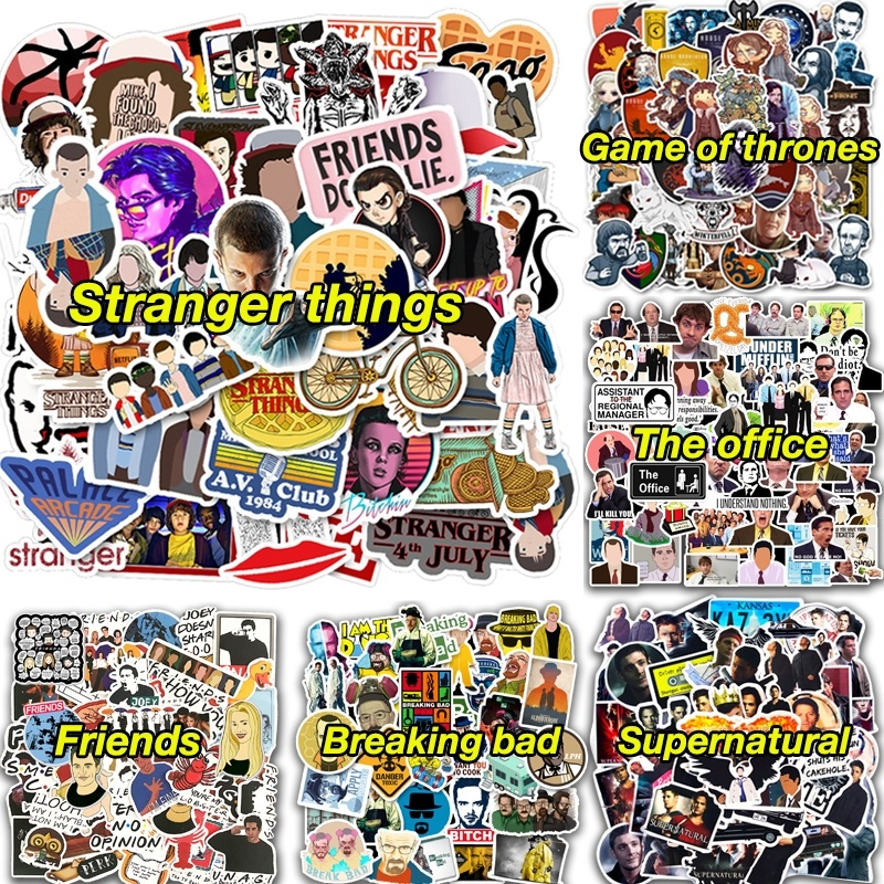 Stranger Things Friends Supernatural The Office Stickers For Luggage Laptop Water Bottles Vinyl Stickers Waterproof Aesthetic