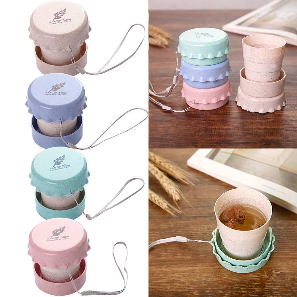 Travel Plastic Folding Wheat Water Glass Collapsible Folding Cup Telescopic Drinking Cup Convenient Easy To Carry Fold Down Flat