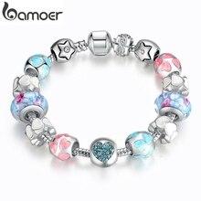 """BAMOER, AliExpress, Серебряное сердце, кристаллы """"любовь"""", разноцветный, для девочек, муранские бусины, браслет, подарок на год PA1871"""